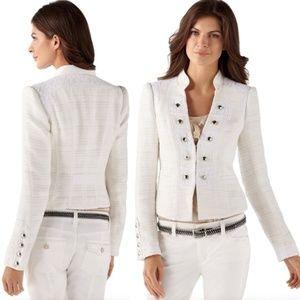 White lace military blazer